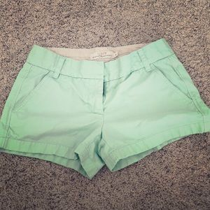 Size 2 seafoam color JCREW chino shorts